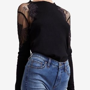 Free people lace shoulder long sleeve top